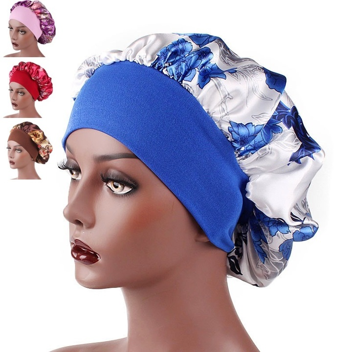 Satin Headscarf Hat Sleeping Bonnet Hair Wrap Silk Cap Fashion Head Scarf Headwear Night Sleep Hat Blue