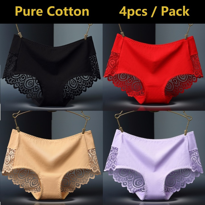 4 Pack Pure Cotton Women Underwear Sexy Lace Panties For Ladies Sleepwear Seamless Lingerie 4 Pack ( Random Mix Within All 8 Colors) L