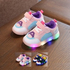 Kid Shoes For Boy Girl Sports Sneakers Baby Leather Athletic Soft Casual LED Luminous Running Pink 28(inner length 17cm)