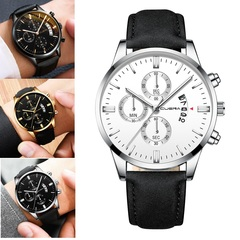 Men Watch leather straps Stainless Steel Good Quartz Luxury Business Man Wristwatch Valentines Gift Sliver (White Dial Black Strap) one size