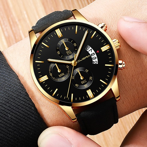 Men Watch leather straps Stainless Steel Good Quartz Luxury Business Man Wristwatch Valentines Gift Gold (Black Dial Black Strap) one size