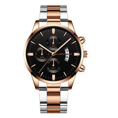 Men Watch Date Stainless Steel Male Watches Quartz WristWatch Wrist Watch Valentines Gift Rose Gold one size