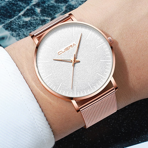 Lady Men Lovers Watch Women Male Classic Watches Stainless Quartz WristWatch Wrist Valentines Gift Rose Gold (White Dial) one size