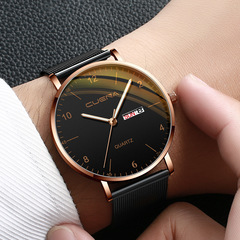 Men Watch Stainless Quartz WristWatch Waterproof Lady Lovers Women Male Date Classic Valentines Gift Black (Rose Gold Case) one size