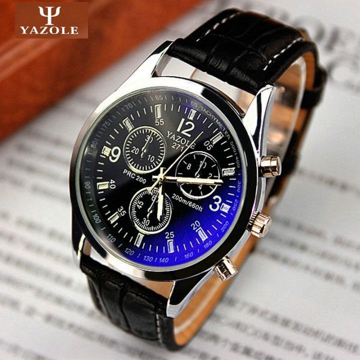 Genuine Yazole Leather Men Watch Man Luxury Quartz Stainless Steel Wrist Watches Wristwatch Gift Black Black One Size