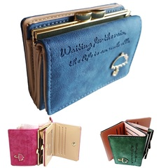Women's Leather Wallet Lady Trifold Purse Large Capacity Handbag clutch organizer with Card slots Blue 11cm*8cm*4cm