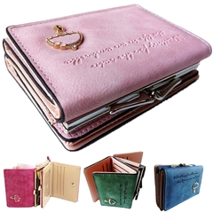 Women's Leather Wallet Lady Trifold Purse Large Capacity Handbag clutch organizer with Card slots Light Pink 11cm*8cm*4cm