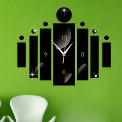 DIY 3D Wall Clock Decor Living Room Hanging Mute Digital Mirror Home Office  Fashion Sticker Clocks Black