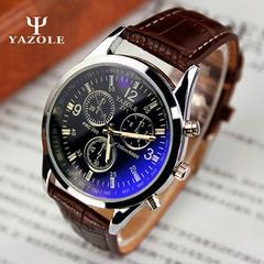 Genuine Yazole Leather Men Watch Man Luxury Quartz Stainless Steel Wrist Watches Wristwatch Gift Black Brown One Size