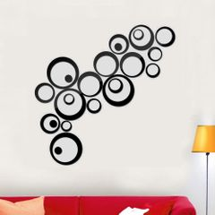 24pcs/Set Wall Decor 3D DIY Sticker Ring Circles Mirror Home Decoration For Living Room Christmas Black 24pcs/Set (DIY Free Size)
