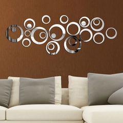 24pcs/Set Wall Decor 3D DIY Sticker Ring Circles Mirror Home Decoration For Living Room Christmas sliver 24pcs/Set (DIY Free Size)