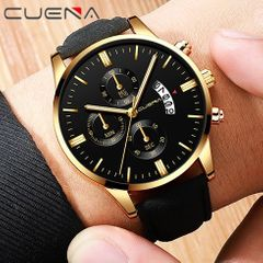 CUENA Men Watch leather straps Stainless Steel Good Quartz Luxury Man Wristwatch Valentines Gift Gold (Black Dial Black Strap) one size