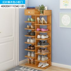 Wood Shoes Racks 8 Tiers Multi-Functional Layers Storage Stackable Shelf Organizer With Drawer Light Brown 111*40*20CM