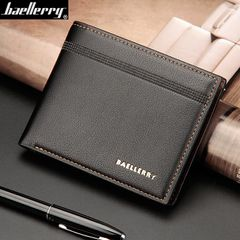 Men Leather Wallet Short Purse Money Clip Bag Male Credit Card Holder Coin Genuine Valentines Gift Black 12.2cm*9.8cm*2.2cm