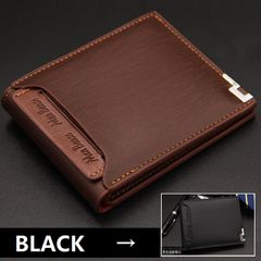 Men Leather Wallet Male Genuine Purse Money Clip Bag Short Small Credit Card Holder Coin Pouch Gift Black 12cm*9.5cm