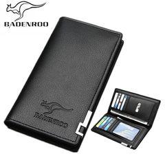 Men Leather Wallet Male Long Soft Phone Purse Money Clip Bag Card Holder Coin Pouch Valentines Gift Black 18cm*9cm