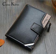 Men Leather Purse Male Genuine Cowhide Wallet Zipper Money Clip Phone Bag Card Holder Handbag Gift Black 12.5cm*9.8cm*1.8cm