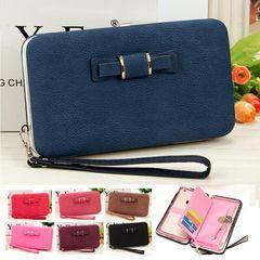 Women Leather Wallet Lady Purse Handbag Long Zipper Money Clip Phone Bag Card Holder Organizer Gift Blue 18.5*10.5*2.8CM