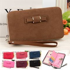 Women Leather Wallet Lady Purse Handbag Long Zipper Money Clip Phone Bag Card Holder Organizer Gift Brown 18.5*10.5*2.8CM