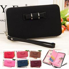 Women Leather Wallet Lady Purse Handbag Long Zipper Money Clip Phone Bag Card Holder Organizer Gift Black 18.5*10.5*2.8CM