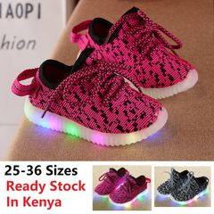 Kid Shoes For Boy Girl Sports Sneakers Baby Athletic Soft Running Casual LED Luminous Light Children pink 31(inner length 18.6cm)