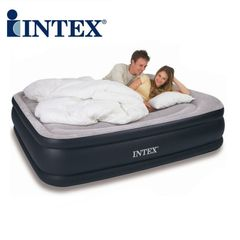 Intex Airbed Inflatable Mattress with Built-in Pump Soft Durable Portable Folding Air Bed Queen Size queen 5*6.66*1.38 ft