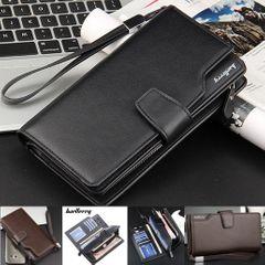 Men Leather Purse Male Long Phone Wallet Zipper Money Clip Bag Card Holder Handbag Valentine Gift Black 22cm*10cm*3cm
