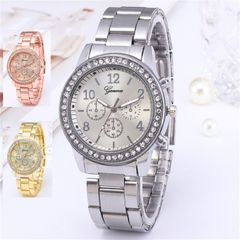 Geneva Women Watches For Lady Wrist Watch Luxury Quartz Stainless Steel Band Casual Fashion Gift Sliver One Size