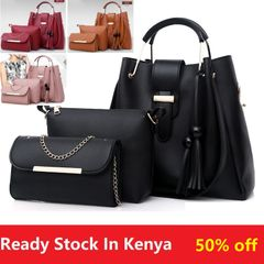 3pcs/Set Big Large Capacity Durable Lady Handbags Classic Fashion Women Luxury Leather Genuine Bags Black 33*31*14+21*17*5+22*12*4(3pcs/set)