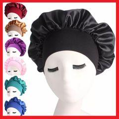 Satin Headscarf Hat Sleeping Bonnet Hair Wrap Silk Cap Fashion Head Scarf Headwear Night Sleep Hat Black