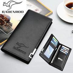 Men Leather Wallet Long Soft Phone Purse Women Money Clip Bag Card Holder Coin Pouch Valentines Gift Black 18cm*9cm
