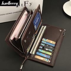Men Leather Wallet Business Male Long Zipper Phone Purse Money Clip Bag Card Holder Christmas Gift Black 20cm*11cm*3cm
