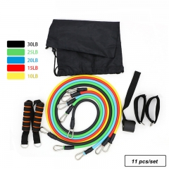 11Pcs/Set Resistance Bands Exercise Training Tube Pull Rope Rubber Expander Elastic Band For Fitness Five Colors 11Pcs/Set