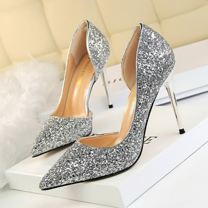 dd2479973c1663 Women Pumps Extrem Sexy High Heels Women Shoes Thin Heels Female Shoes  Wedding Ladies silvery 40