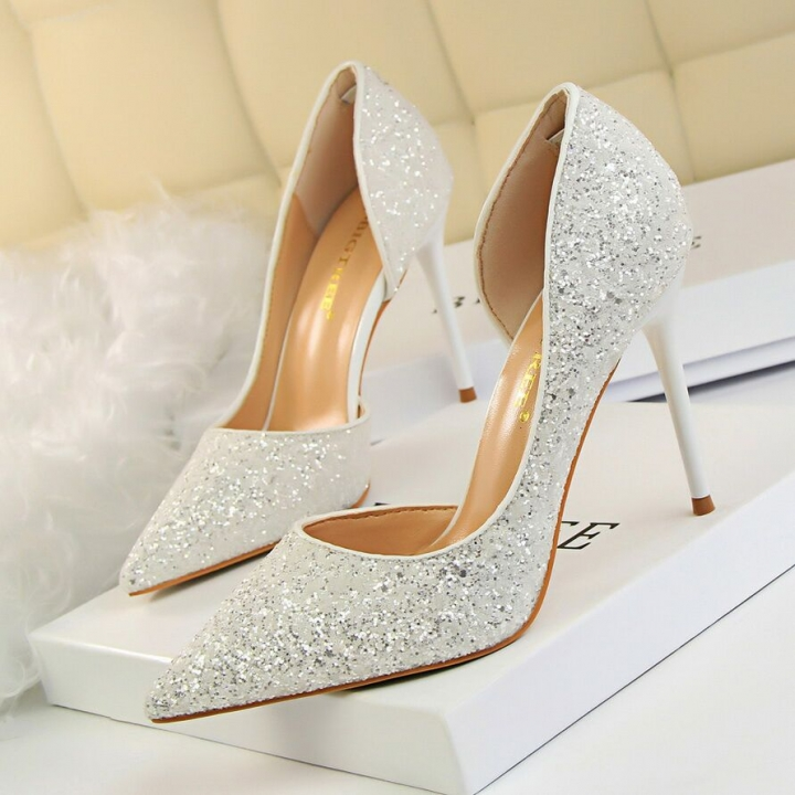 a069c351c32ff8 Women Pumps Extrem Sexy High Heels Women Shoes Thin Heels Female Shoes  Wedding Ladies white 40