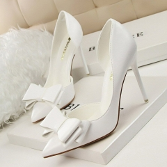 New Fashion Delicate Sweet Bowknot High Heel Shoes Side Hollow Pointed Women Pumps white 34