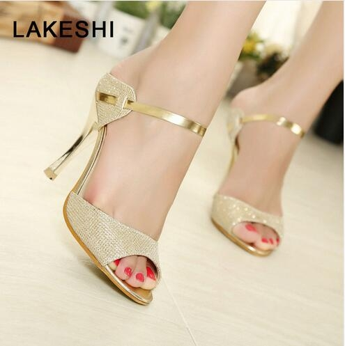 1778f2d8154 Heel Type  Thin Heels Upper Material  PU Style  Sexy Pump Type  Basic  Season  Spring Autumn Toe Shape  Peep Toe Fashion Element  Bling Heels  Hight  9cm