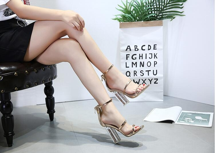 8af3ce01c71 Women Open Ankle Strap Gold Sandals Crystal Transparent Clear Block Thick  High Heel Sequined Shoes golden 40
