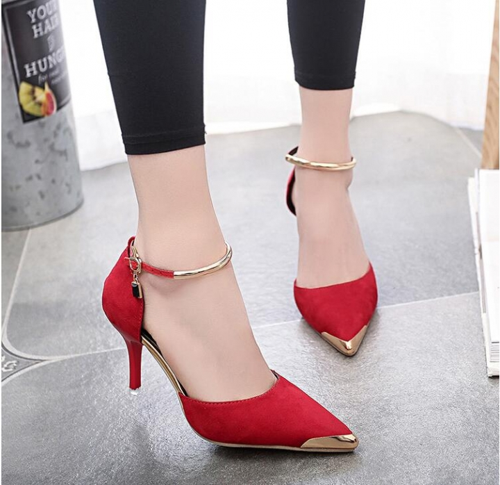 2018 Fashion Women Flock Pointed Toe Sandals Ankle High Thin Heels Single  Shoes chaussure femme red 370dce24efeb