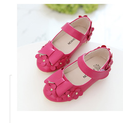 2018 Girls Shoes  Fashion bowknot Children Flat Shoes for Girls Shoes Rose red 21