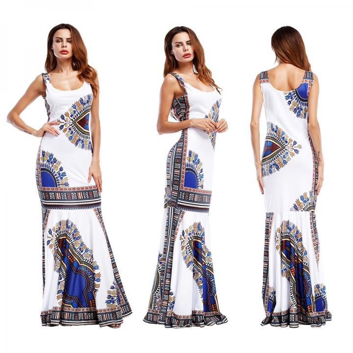 3e3c69ba8d951 Women Fashion Clothes Sleeveless Flowers Printed Slim Long Dress Evening  Party Dress L white