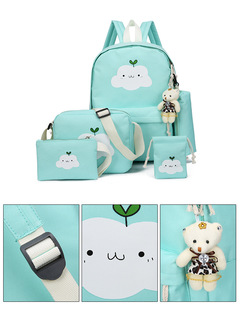 2018 NEW FASHION Five-piece Female Travel Large Capacity Backpack Mother bag  Backpack green