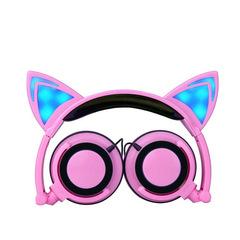 New Fashion Children's Cartoon Cat Ears Headphone Foldable Cosplay Mobile phone music Headphones pink f