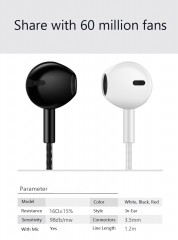 Stereo Earphone Headphone with Microphone Wired Gaming Headset for Phones Samsung Xiaomi Apple Phone white