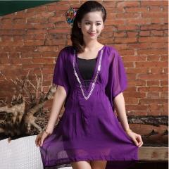 Summer Autumn Plus Size Shirt Female Big Sizes Short Sleeve Shirt Fashion Leisure Chiffon Blouse Top purple L