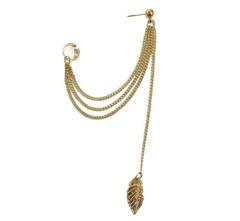 (2Packs) Long Style Leaf Dangle Earrings Metal Chain Tassel Earring Clips for Girls Gold 9-11CM Gold 9-11cm