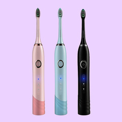 Smart sonic vibrating USB charging rechargeable electric toothbrush soft bristle 5 working modes black