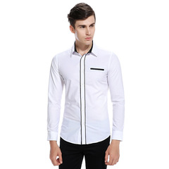Men Shirt Youth Fashion Slim Fit Shirt Brand Clothing Single Pocket Long-sleeved Male Business Shirt white L