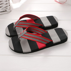 Summer slippers men's flip-flops wholesale beach shoes home slippers fashion slippers grey+black 42