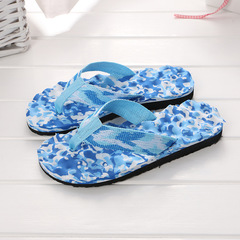 Slippers for men women couple summer thick bottom wedge sandals slip feet slippers home slippers camouflage blue 36